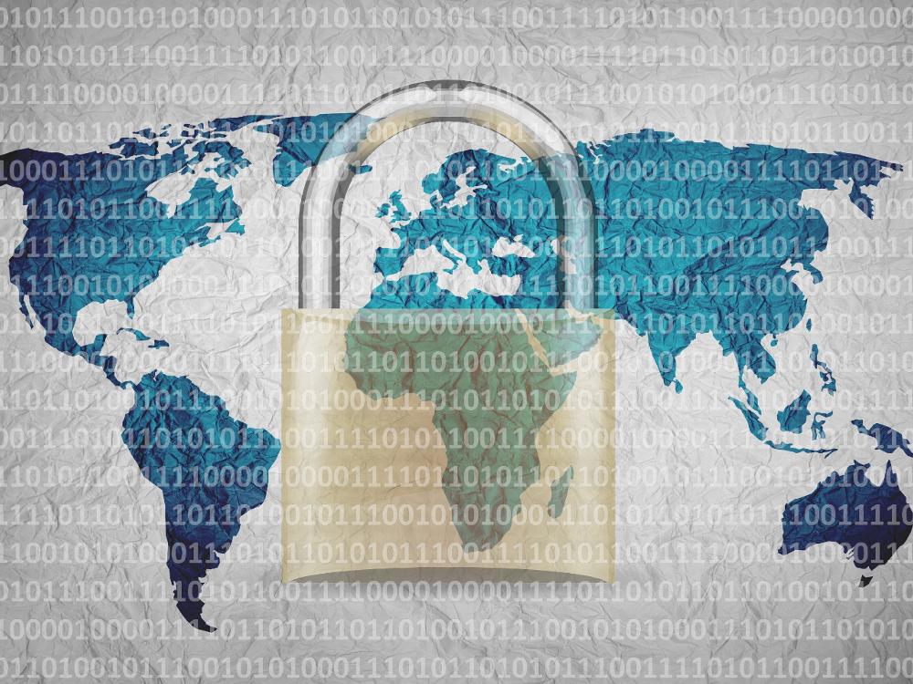 Privacy, Cyber Security, Padlock over Globe with Binary Code
