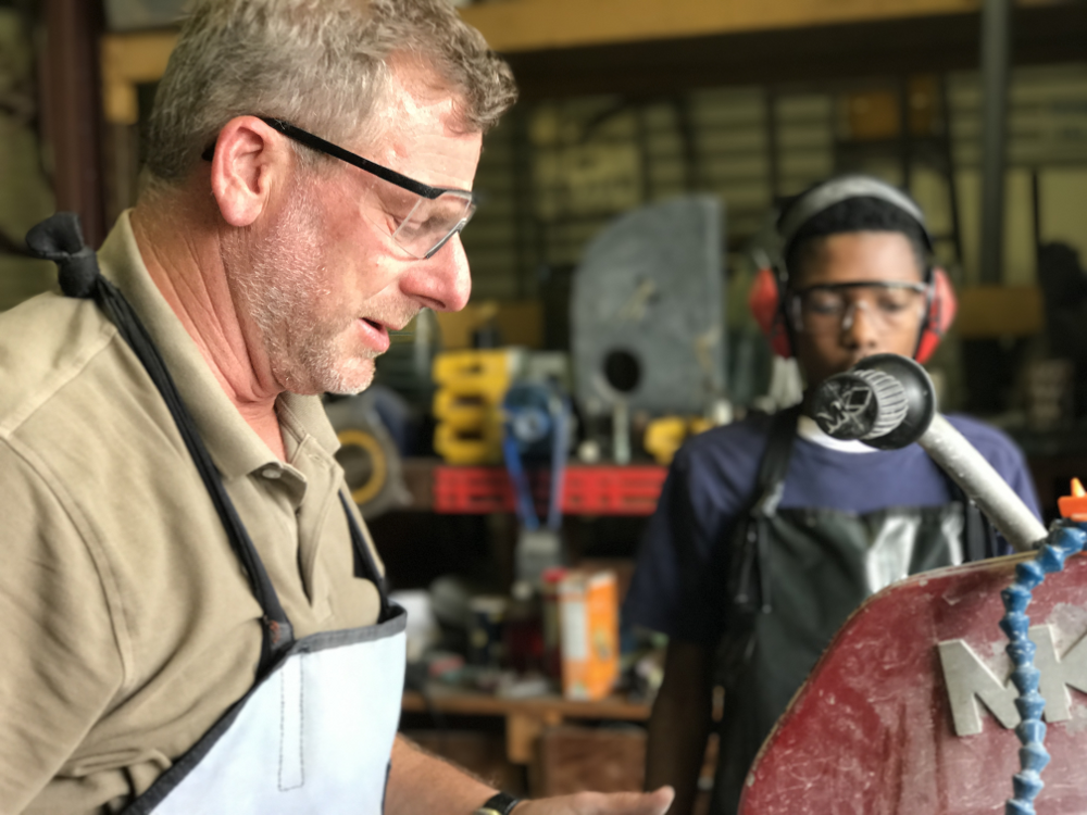 Vocational Training, Man Teaching Young Man Woodwork